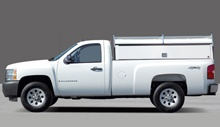 White Chevy Silverado camper top